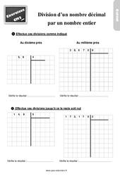 Exercices, révisions sur la division d'un nombre décimal par un entier au Cm2 avec les corrections
