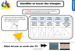 Leçon, trace écrite sur identifier et tracer des triangles au Cm2