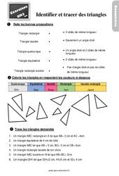 Exercices, révisions sur identifier et tracer des triangles au Cm2 avec les corrections
