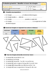 Évaluation, bilan sur identifier et tracer des triangles au Cm2 avec la correction