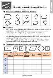 Exercices, révisions sur identifier et décrire des quadrilatères au Cm2 avec les corrections