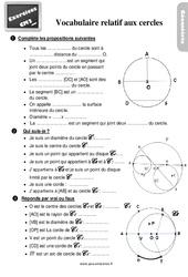 Exercices, révisions sur le vocabulaire relatif aux cercles au Cm2 avec les corrections