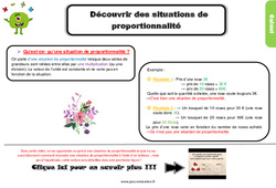 Leçon, trace écrite sur reconnaitre des situations de proportionnalité – Cm2