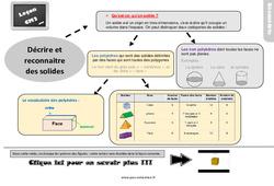 Leçon, trace écrite sur décrire et reconnaitre des solides - Cm2