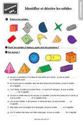 Exercices, révisions sur identifier et décrire les solides - Cm2