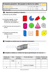 Évaluation, bilan sur décrire et reconnaitre des solides – Cm2 avec les corrections