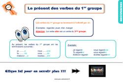 Leçon, trace écrite sur le présent des verbes du 1er groupe au Ce1