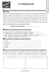 Exercices, révisions sur le champ lexical au Cm2 avec les corrections