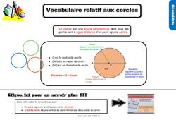 Leçon, trace écrite sur le vocabulaire relatif aux cercles au Cm1