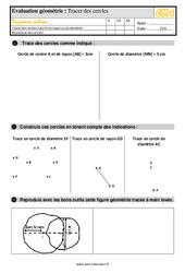 Exercices, révisions sur tracer des cercles au Cm1 avec les corrections