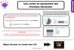Leçon, trace écrite sur lire, écrire et représenter des fractions décimales au Cm1
