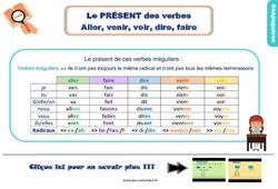 Leçon, trace écrite sur le présent des verbes aller, venir, voir, dire, faire au Ce2