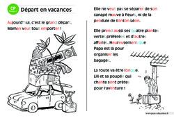 Départ en vacances – CP – Lecture compréhension – Histoire illustrée – Niveau 2