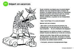 Départ en vacances – CE1 – Lecture compréhension – Histoire illustrée - Niveau 2