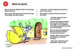 Mimi la souris – CE1 – Lecture compréhension – Histoire illustrée - Niveau 1