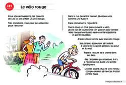 Le vélo rouge – CE1 – Lecture compréhension – Histoire illustrée - Niveau 1
