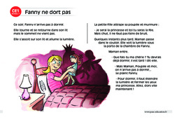 Fanny ne dort pas – CE1 – Lecture compréhension – Histoire illustrée - Niveau 1