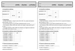 Unités, dizaines, centaines - Ce1 - Exercices de numération