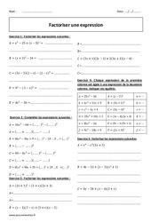 Factoriser une expression – 3ème – Révisions brevet des collèges