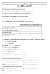 Possessifs et démonstratifs 6ème - Exercices à imprimer sur les déterminants
