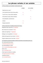Phrases verbales et non verbales - 6ème - Exercices à imprimer
