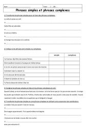 Phrases complexes – Phrases simples – 6ème – Exercices à imprimer