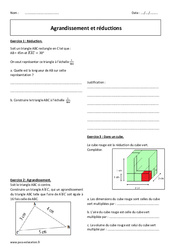 Agrandissement et réductions - 3ème - Exercices corrigés