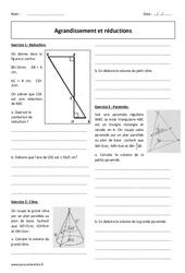 Réductions et agrandissement  – 3ème – Cône et pyramide – Révisions brevet