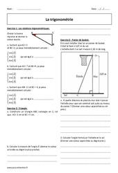 Trigonométrie – 3ème – Exercices avec  correction