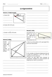 Cosinus, sinus , tangente – 3ème – Révisions brevet sur la trigonométrie