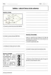 Solides – Calcul d'aires et de volumes – 3ème – Exercices avec correction
