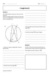 Angle inscrit – 3ème – Exercices corrigés