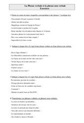 Phrase verbale et la phrase non verbale – Cm1 – Exercices – Grammaire – Cycle 3