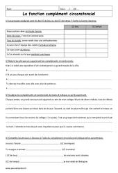 Fonction complément circonstanciel - 6ème - Exercices corrigés