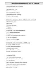 Complément d'objet direct (COD) - Cm1 - Exercices