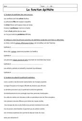 Fonction épithète – 6ème – Exercices corrigés