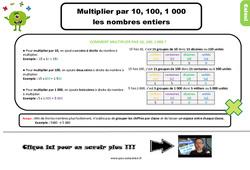 Leçon, trace écrite sur multiplier par 10, 100, 1000 les nombres entiers au Ce2