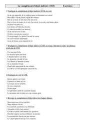Complément d'objet indirect (COI) - Cm1 - Exercices - Grammaire - Cycle 3