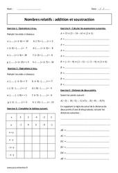 Addition et soustraction - 4ème - Exercices corrigés sur les nombres relatifs