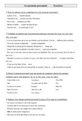 Pronoms personnels – Cm1 – Exercices – Grammaire – Cycle 3