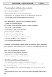 Exercices de grammaire cm1- cycle 3: Les fonctions de l'adjectif qualificatif
