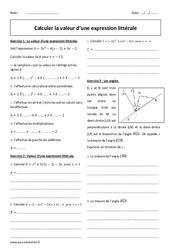 Calculer la valeur d'une expression littérale - 4ème - Exercices corrigés