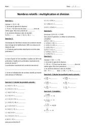 Multiplication et division - 4ème - Exercices - Nombres relatifs