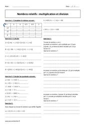 Division et multiplication – 4ème – Exercices – Nombres relatifs