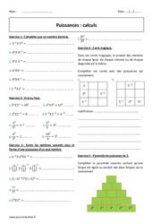 Puissances - Calculs - 4ème - Exercices corrigés