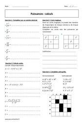 Calculs - 4ème - Exercices à imprimer sur les puissances