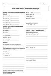 Puissances de 10 - Notation scientifique - 4ème - Exercices corrigés