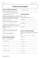 Calculer avec des inégalités - 4ème - Exercices corrigés