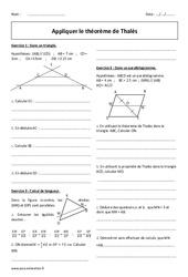 Appliquer le théorème de Thalès - 4ème - Exercices corrigés