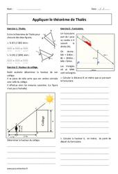 Théorème de Thalès - 4ème - Exercices à imprimer